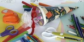 Bild einer Zuckertüte mit Bastelmaterial